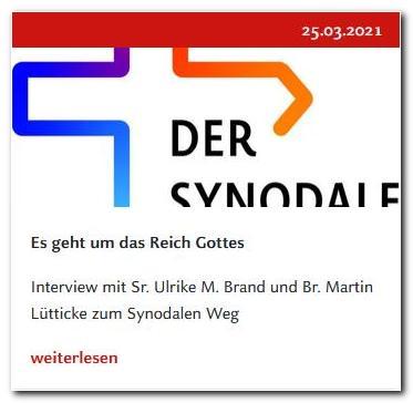 """  26.3.2021  Interview zum Synodalen Weg mit Br. Martin und Sr. Ulrike im Kirchenmagazin """"Der Dom"""""""